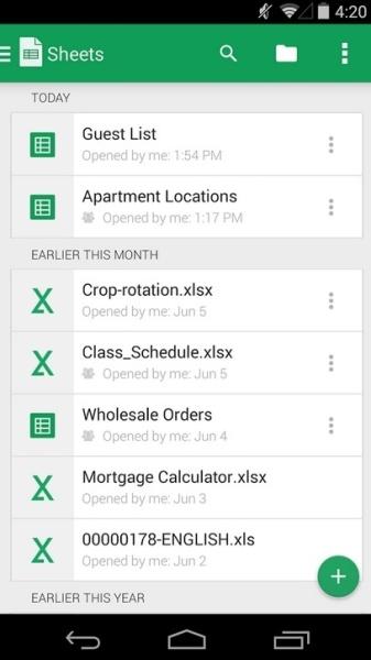 A legjobb ingyenes táblázatkezelők mobilra google sheets