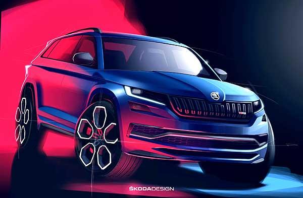 Új KODIAQ RS modellje első egész dizájnrajzait közölte a Škoda
