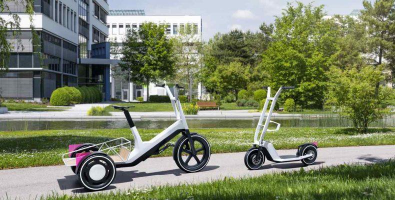 A BMW Group Research elektromos teherhordó kerékpár és roller továbbfejlesztett koncepcióját mutatta be